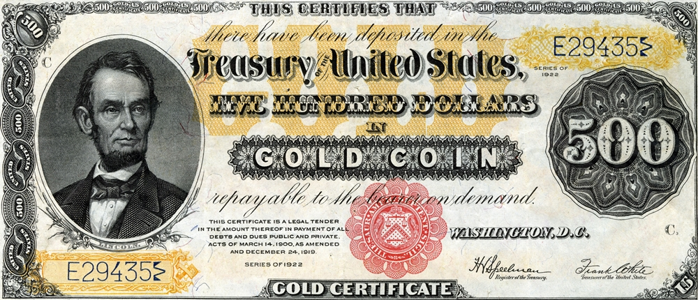 Gold Amp Silver Dollar Certificates Op Doek Europese