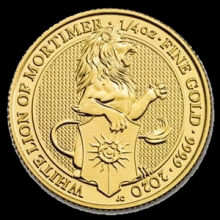 Great Britain Queens Beast White Lion 1/4 oz 2020 BU gouden munt